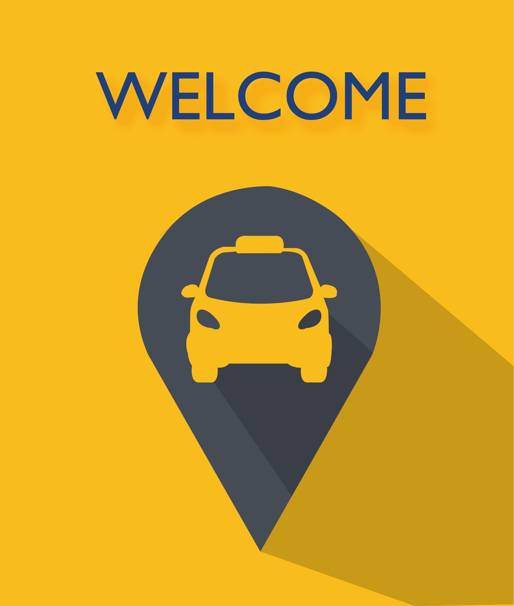 welcome text with car